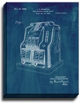 Slot Machine Game Patent Print Midnight Blue on Canvas - $39.95+