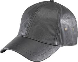 Henschel Genuine Leather Ball Cap Adjustable Back Strap Eyelets Black Brown - $64.00