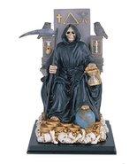 12 Inch Sitting Black Santa Muerte Saint Death Grim Reaper Statue - $39.59