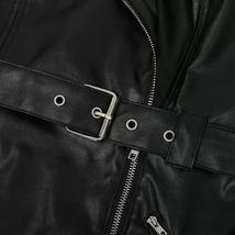 Faux Leather One Shoulder Biker Coat Style Black Vinyl Club Dress image 4