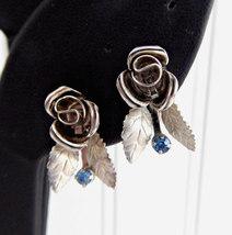 Earrings Dimensional Rose Blue Rhinestones 1950s Screw Back Silverplated Vintage - $28.00