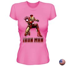 IRON MAN LEAGUE SUPERHERO LOGO WOMEN JUNIOR FIT PINK T-SHIRT 192 image 3