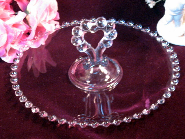Primary image for Imperial Glass Candlewick Heart Handled Pastry Tray Vintage Elegant Glass