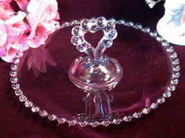 Imperial Glass Candlewick Heart Handled Pastry Tray Vintage Elegant Glass - $49.99