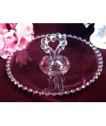 Imperial Glass Candlewick Heart Handled Pastry Tray Vintage Elegant Glass - $29.99