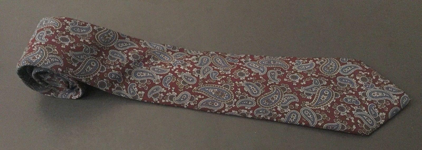Geoffrey Beene Dark Paisley Tie Necktie Burgundy Blue Cohoes Silk Italian Made