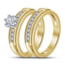 Womens Wedding Diamond Ring Set 14k Yellow Gold Finish 925 Sterling Real Silver - $94.99