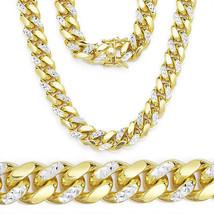 Hombres 14K Yg Chapado Talla Diamante Plata 925 Miami Cubano Cadena 10.3mm - £715.86 GBP+