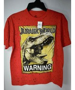 JURASSIC WORLD WARNING RED BOYS GRAPHIC T Shirt SPECKLED EXTRA LARGE XL ... - $20.00