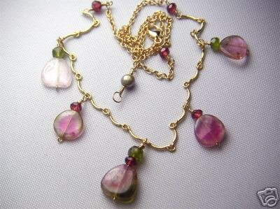 Watermelon Tourmaline necklace, Pink gem slices, Scallop necklace, Gold filled,