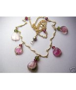 Watermelon Tourmaline necklace, Pink gem slices, Scallop necklace, Gold ... - $176.84