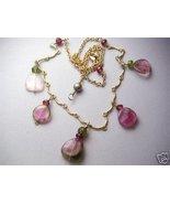 Watermelon Tourmaline necklace, Pink gem slices... - $176.84