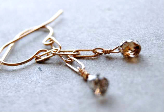 Diamond earrings, Solid gold, Champagne diamond, Gem Bliss