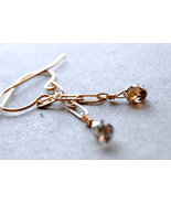 Diamond earrings, Solid gold, Champagne diamond... - $174.56