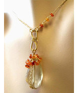 Citrine necklace Citrine Carnelian cascade golden necklace - $65.96