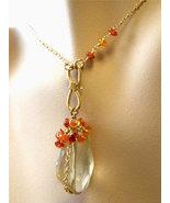 Citrine necklace Citrine Carnelian cascade gold... - $65.96
