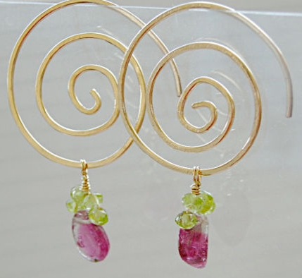 Tourmaline Hoops, pink watermelon charms, Spiral hoop Earrings, Gem Bliss