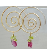 Tourmaline Hoops, pink watermelon charms, Spiral hoop Earrings, Gem Bliss - $82.92