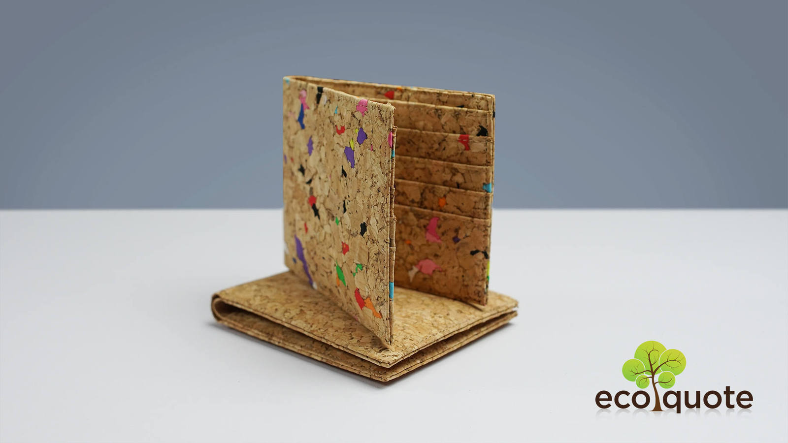 EcoQuote Simple Bi Fold Wallet handmade Cork Eco Friendly Material for Vegan