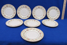 8 Edwin Knowles Saucer Plates Brunswick Pattern Floral USA Vintage Gold ... - $19.79