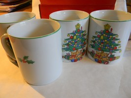 Porcelain 4 Mug Set Hand Decorated CHRISTMAS TIME in Original Box FREE S... - $23.36