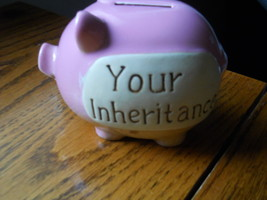 Rosy Pastel Pink YOUR INHERITANCE Pig Piggy Bank Rubber Bottom stopper C... - $24.45