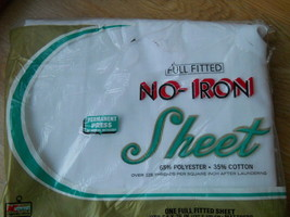 Vintage Permanent Press No Iron Full Fitted Sheet S S Kresge White Made ... - $24.95