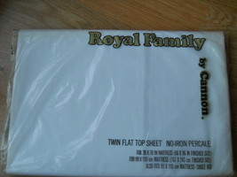 Vintage Royal Family Cannon Mills Twin Flat Top Sheet Percale White Made... - $21.53