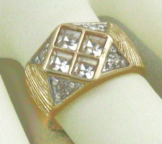 VINTAGE Style heavy 18K GF. CUBIC ZIRCONIA men's wide band cocktail ring size 10
