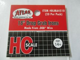 """Atlas # BLMA4510 Drop Grab Iron 18"""" .008 Wire 20 Per Pack HO-Scale image 5"""