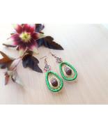 Avocado green dreamcatcher jewelry Boho jewelry Gift for her Fruit earri... - $19.21