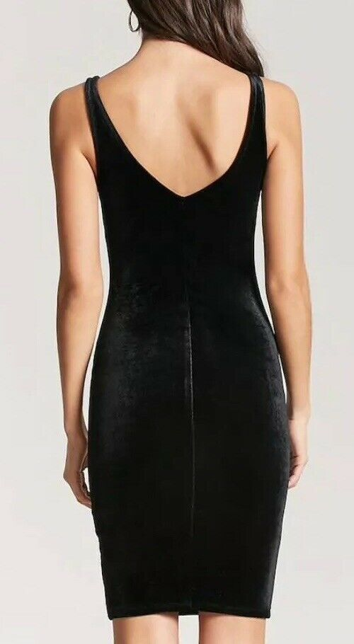 Forever 21 Velvet Little Black Dress Sexy Bodycon V Neck Basic Black S NEW image 3