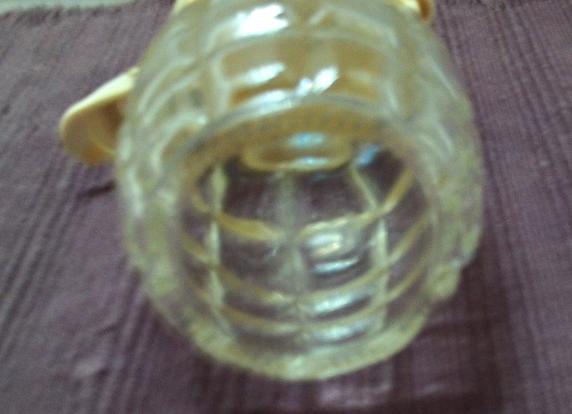 Vintage Pressed Glass Square Pattern Plastic Lid Syrup / Sugar / Honey Dispenser
