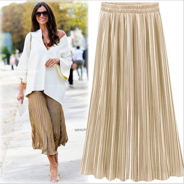 Silver Gold Pleated Skirt Vintage High Waist Long Metallic image 3