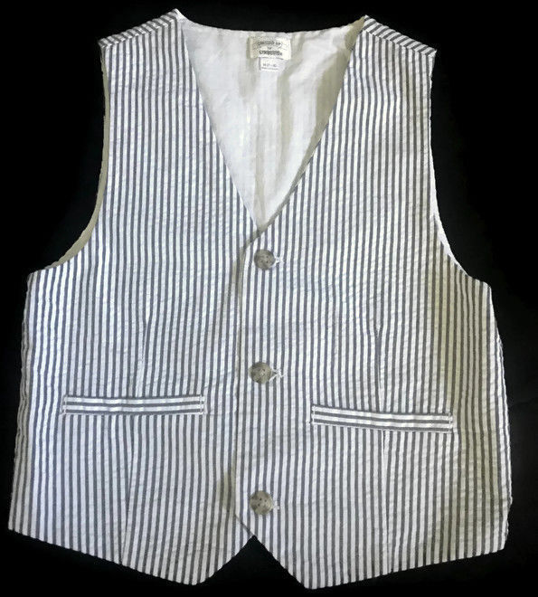 Primary image for Gymboree Dressed Up Seersucker Vest Gray White Boys 7-8 M Wedding Church