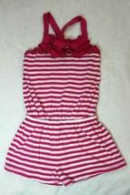 Chaps Girls Romper Size 4 Pink White Stripe Ruffle Shortset Spring Summer - $22.76