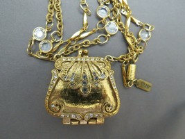 "1928 Purse Pendant Necklace 28"" Bezel Set Crystals Rhinestones Gold Plat... - $48.51"