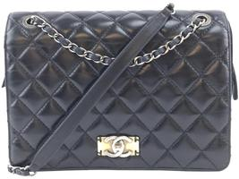 #31320 Chanel Classic Flap Quilted Navy Lambskin Leather Cross Body Bag - $2,500.00