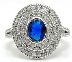 2CT Blue Sapphire & Topaz 925 Solid Sterling Silver Ring Jewelry Sz 6, CU4 - $32.66