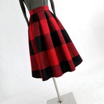 BLUE PLAID Midi Skirt Outfit Women Winter Wool Midi Plaid Party Skirt Plus Size image 10