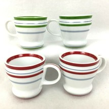4 Starbucks Espresso Demitasse Mugs 3 Ounce 2007 Stripe Red Green White ... - $23.71