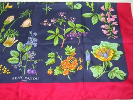 Jean Patou Paris 100% Silk Scarf Hand Rolled Hem Red Blue Floral Branche... - $94.85