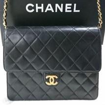 Auth CHANEL Shoulder Bag Black Matelasse Vintage Logo Quilted lambskin B2408 - $1,545.39