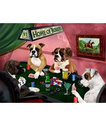 Home of Boxers 4 Dogs Playing Poker Art Portrait Print Woven Throw Sherp... - $137.61
