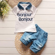 children summer baby boys clothing sets 2pc Printing clothes polo jean s... - $22.33 CAD+