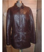 Vintage Brown Leather Car Coat Jacket S/M Nice! - $34.99