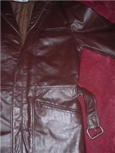Vintage Brown Leather Car Coat Jacket S/M Nice!