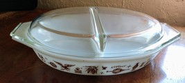 Pyrex White Ovenware Early American Eagle 1½ QT Oval Divided Casserole with Lid - $35.99