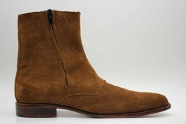 Handmade Men's Brown Suede High Ankle Monk Strap Zipper Boots image 3