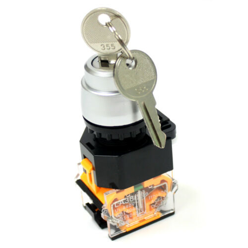 Primary image for On/Off 2 Position Rotary Keylock Select Switch 1NO+1NC (DPST) 440V 10A